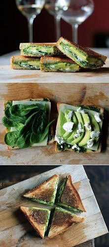 Pesto, mozzarella, baby spinach & avocado grilled cheese
