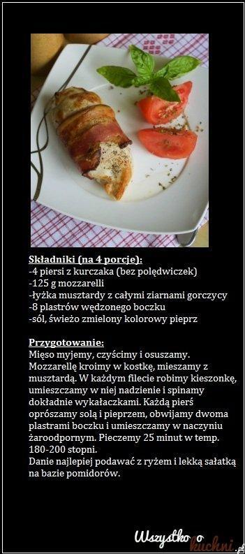 piersi z kurczaka faszerowane musztardą i mozzarellą