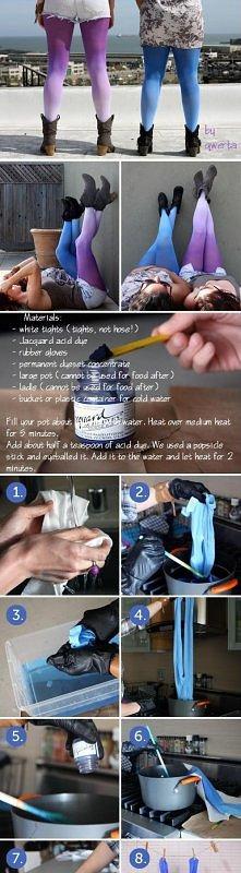 Potrzebne: Białe leginsy Barwnik (zależy jaki kolor chcecie to tam sami wybierzcie) Rękawice gumowe Koncentrat barwnika Naczynie z wodą Duża łyżka (do mieszania)
