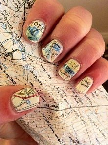 1. Paint your nails white/cream 2. Soak nails in alcohol for five minutes 3. Press nails to map and hold 4. Paint with clear protectant immediately after it dries. So cool!