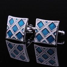 Blue and white cufflinks for gentleman 1005