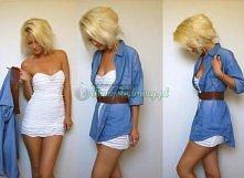 Sukienka, pasek i męska koszula czyli prosty pomysł na ciekawą stylizację :D