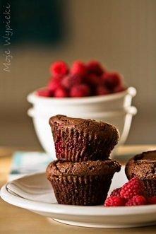 babeczki brownies z malinam...