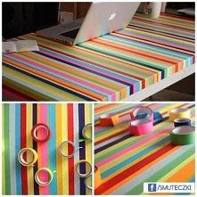 Stół oklejony taśmami ;-)