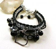 Bransoletka glamour 2 w 1 SERCE rzemień sznurek czerń i srebro