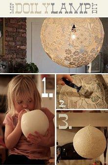 jak zrobić DOILY LAMP z użyciem starych serwetek