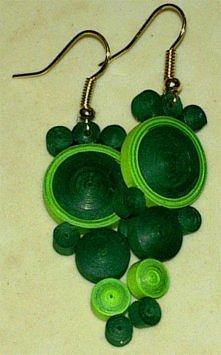kolczyki quillingowe zielone