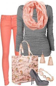 grey & coral