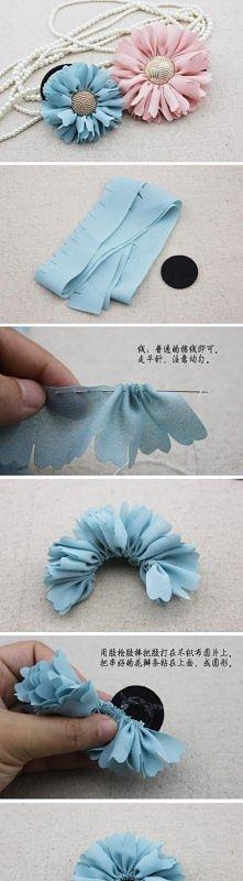 kwiatki ze wstążki