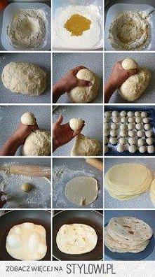 Tortilla 1 kg maki pszennej 1,5 cup (szklanka) oleju 1 lyzka proszku do piecz...