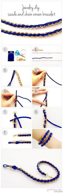 diy, diy projects, diy craft, handmade, diy suede and chain woven bracelet