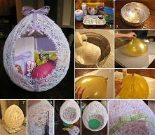 diy, diy projects, diy craft, handmade, diy egg shaped easter basket from string