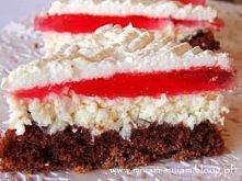 Ciasto z kokosem i galaretką.  Składniki Ciasto:  2 jajka + 2 żółtka  2/3 szkl. cukru  3/4 szkl. mąki  1/2 łyżeczki proszku do pieczenia  2 łyżeczki kakao  Masa:  20 dag wiórków...