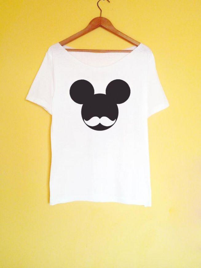 mickey moustache koszulka ręcznie malowana szczegóły i możliwość zakupu po kliknięciu