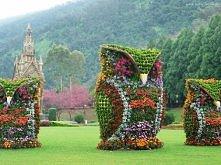 Ogród, Dekoracja, Kwiatowa, Trzy, Sowy