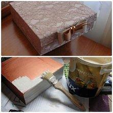 pudełko oklejone koronką
