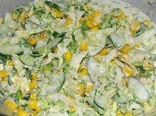 SURÓWKA Z KAPUSTY PEKIŃSKIEJ Z KOPERKIEM  Składniki:  1 główka kapusty pekińskiej 2-3 zielone ogórki (średniej długości) 1 puszka kukurydzy pęczek koperku majonez sól, pieprz Og...