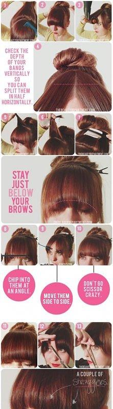 fashion, diy fashion projects, diy fashion ideas, diy fashion tips,  diy bang trim hairstyle