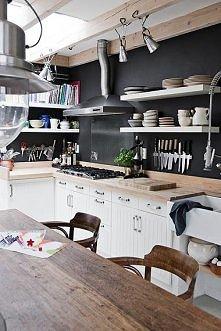 ciekawa kuchnia, na ścianac...