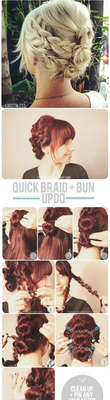 fashion, diy fashion projects, diy fashion ideas, diy fashion tips,  diy quick braid and bun updo hairstyle