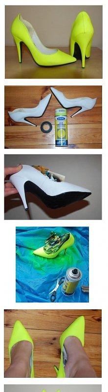 NEON SHOES Szpilki kupione w SH za 1zł (nowe!!). Pomalowałam je żółtym fluore...