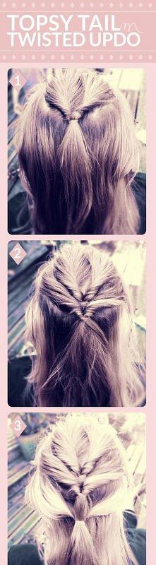 fashion, diy fashion projects, diy fashion ideas, diy fashion tips, diy topsy tail twisted updo hairstyle
