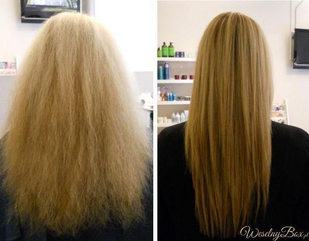 Rozwiązanie na puszące się włosy  Olejek rycynowy (olejek wetrzyj we włosy i zawiń je w kompres-ciepły ręcznik, poprzednio moczony w gorącej wodzie i wyciśnięty zawiązany na głowie i trzymany tak długo, aż przeschnie) pomaga zniszczonym, puszącym się włosom (stają się śliniące i jedwabiście gładkie). Włosy będą mocniejsze i błyszczące. Można stosować również do brwi i rzęs, ale bardzo ostrożnie, żeby nie dostał się do oczu.
