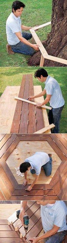 Pomysł na ławke przy drzewie :)