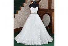 A-line Strapless Scalloped-Edged Neckline Organza weep/Brush Train Wedding Dress