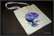 Ręcznie namalowany bukiet kwiatów - zainteresowanych kupnem torby z takim wzo...