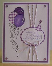 Kartka urodzinowa baloniki fioletowa
