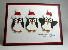Kartka świąteczna śmieszne pingwinki dla chłopaka czy taty