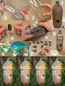 domek dla ptaszków z butelki