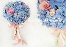 Niebieski bukiet ślubny z hortensji i eustomy {Kwiatowe Atelier}