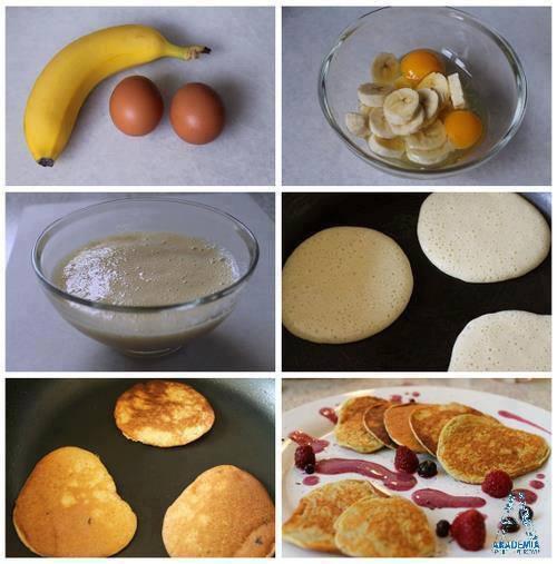 Placuszki z banana i jajek.  Składniki: - 1 duży banan - 2 jajka Przygotowanie: Banana kroimy na plasterki i dodajemy do jajek. Wszystko blendujemy na jednolitą masę.  Placki smażymy z obu stron na złoty kolor.