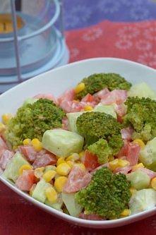 Kolorowa sałatka z brokułem Składniki:  - 1 brokuł, - 3 pomidory, - 1 duży og...