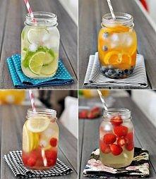 DIY Woda smakowa: Weź słoik, napełnij wodą i ulubionymi owockami, zostaw na noc. Rano będziesz mieć świeżą wodę z ulubionym smakiem :)