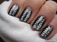 Black & white - no water marbe nails - tutorial - Czarno białe mazańc...