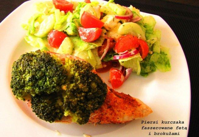 piersi z kurczaka faszerowane, fetą i brokułami :)