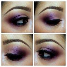 Fioletowy makijaż.