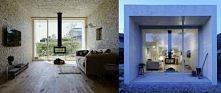parterowy dom o długim i cienkim prostokątnym kształcie położony wśród planta...