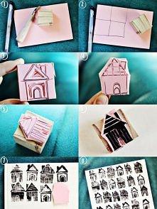 Stempelki w kształcie domkó...