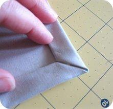 obszywanie rogu tkaniny