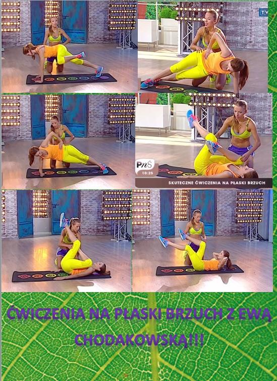 Ćwiczenia na płaski brzuch z Ewą Chodakowską!!! Zrób każde ćwiczenie przez 30 sekund robiąc przerwę 10s. Powtórz 3 razy.