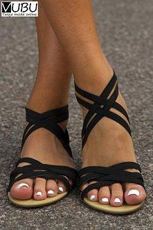 Polub nas na Facebooku i odbierz kod na darmowy koszt dostawy :) Czarne sandały rzymianki