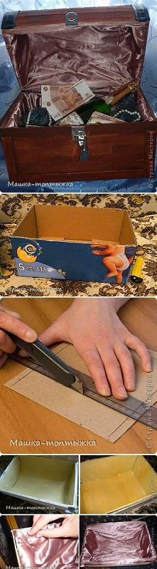 diy, cardboard, treasure, box