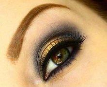 wieczorowy makijaż z odrobiną złota :)