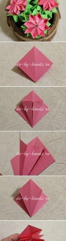 origami, modular, primrose, flower