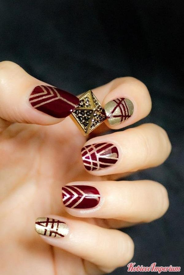 Bordowo złoty manicure