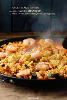 .Paella z kurczakiem, warzywami (cukinią i papryką) oraz krewetkami.  *PRZEPIS > wystarczy kliknąć na zdjęcie :)